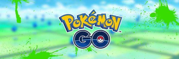 Banner de Pokémon Go oficial con fondo con manchas verdes haciendo referencia a Smeargle