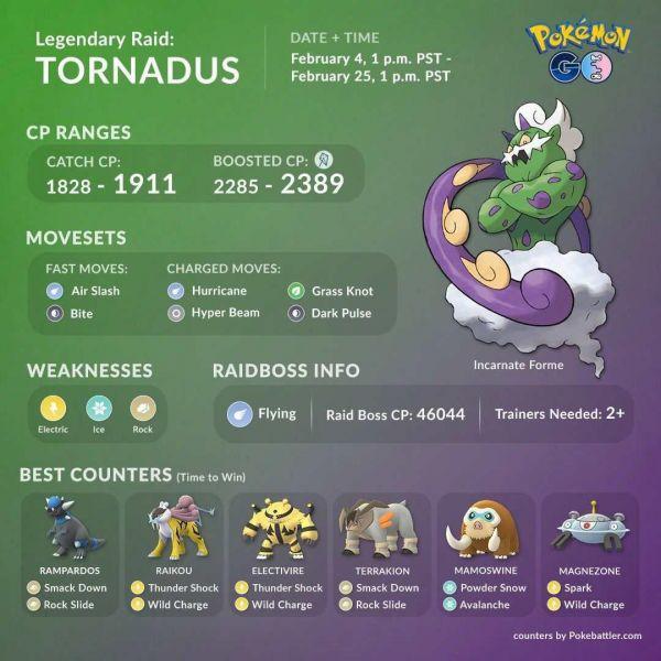 Mejores Counters para derrotar a Tornadus en Pokemon Go