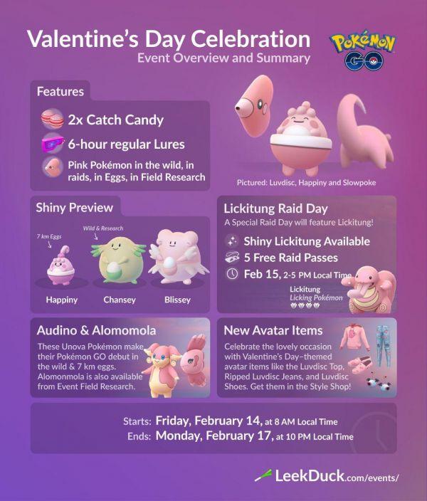 Evento San Valentín de febrero del 2020 realizado en Pokemon Go con varios pokemon rosas como protagonistas