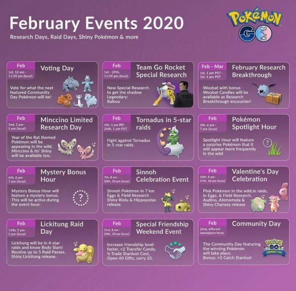 Infografía que resume todos los detalles sobre los Eventos de Febrero del 2020 en Pokemon Go