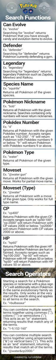 Imagen que resume todo lo relacionado con las búsquedas por filtros en Pokémon Go