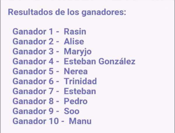 Lista donde se muestran los 10 ganadores del sorteo