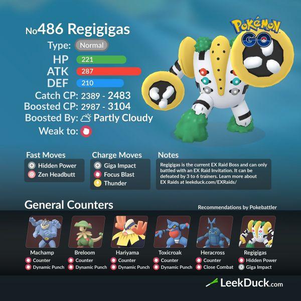 Mejores Atacantes para derrotar a Regigigas en Pokemon Go