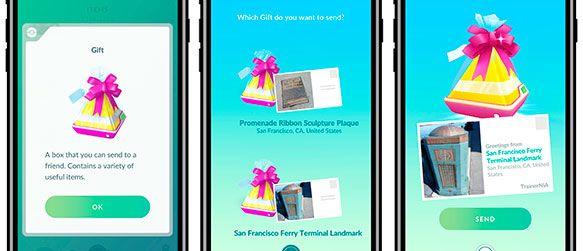 Proceso de intercambio de regalos entre amistades en Pokémon Go