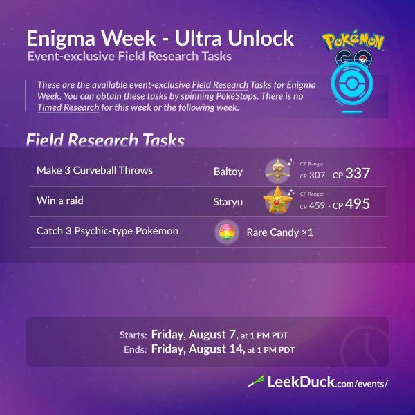 Investigaciones y Recompensas Semana Enigma Pokemon Go