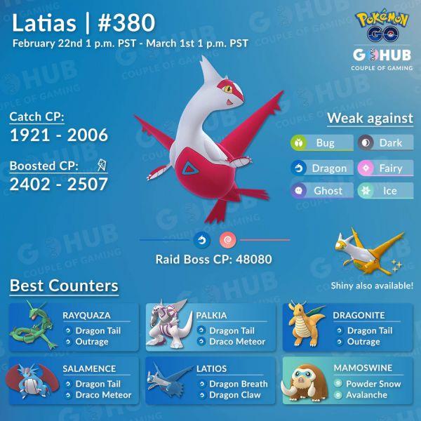 Mejores Atacantes para derrotar a Latias en Pokemon Go