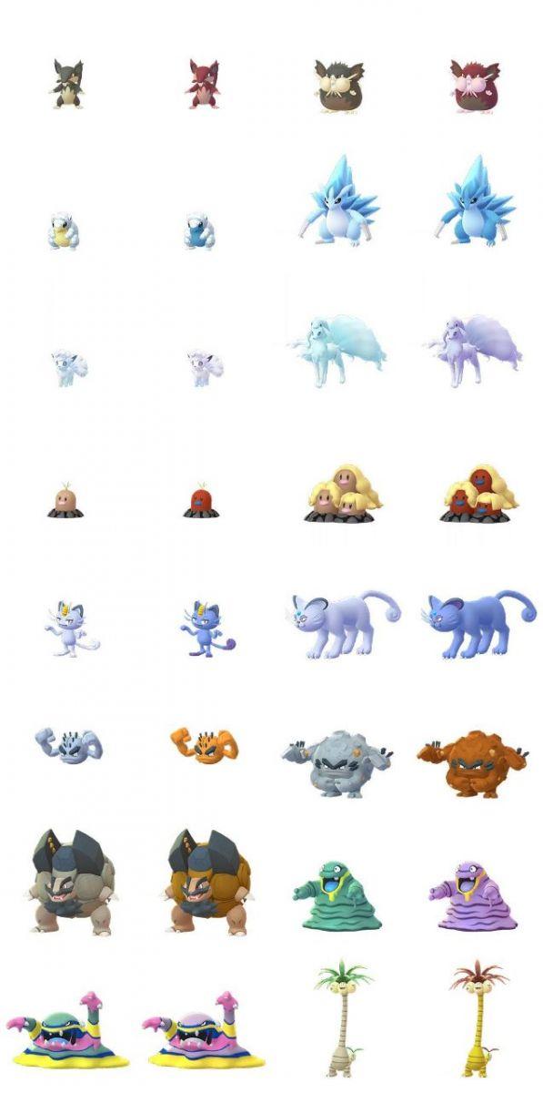 Lista donde se muestran todos los pokemon Alola en su versión variocolor