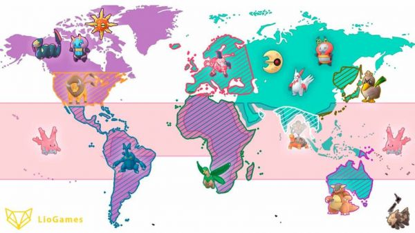 Situación en el mapa geográfico de los pokémon regionales en pokémon Go