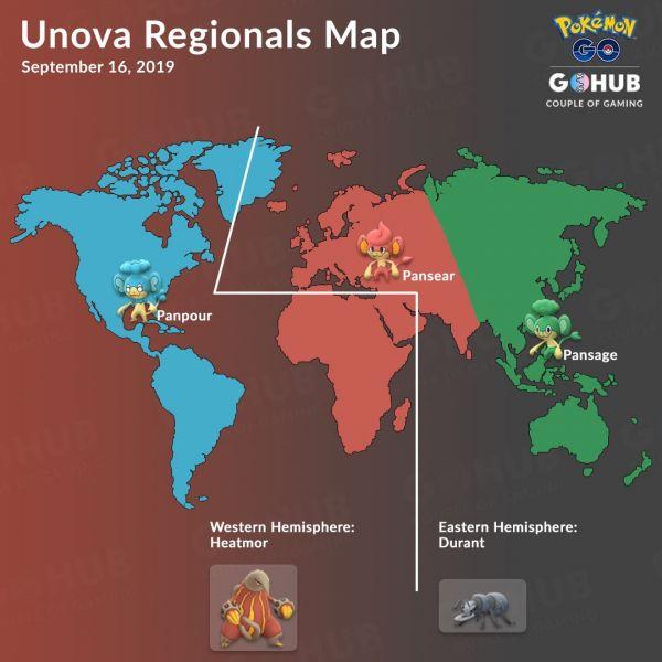 Mapa que sitúa a los pokemon regionales de la Generación 5 de la región de Teselia Unova en Pokemon Go