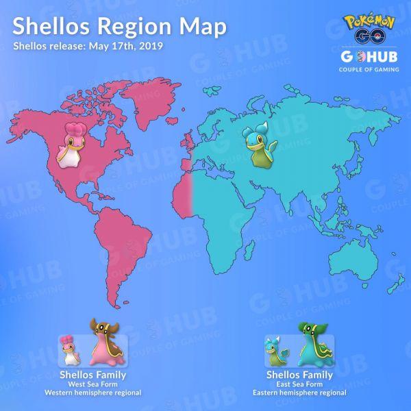 Mapa que muestra la ubicación de Shellos en sus dos versiones en Pokemon Go