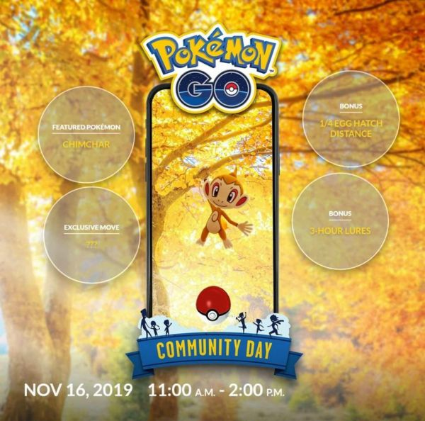 ✅ COMMUNITY DAY NOVIEMBRE 2019【 CHIMCHAR  ® 】