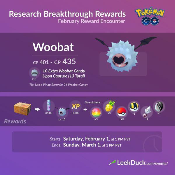 Infografía que hace referencia a la recompensa del último sello de investigación de campo en Pokemon Go. En este caso es Woobat.